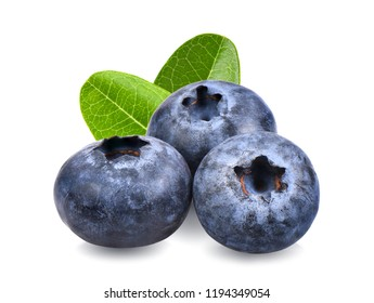 Blueberries with green leaves closeup, isolated on white background