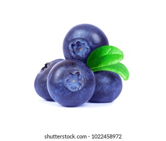 Blueberries with green leaves closeup on white background