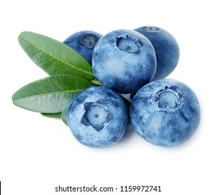 Blueberries with green leaves isolated on white background.