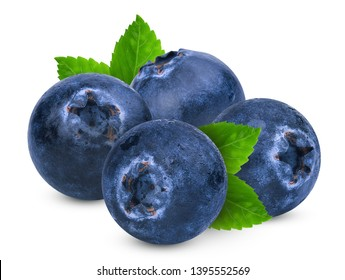 blueberries with green leaves isolated on white background