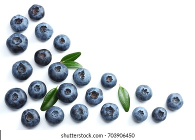 blueberries isolated on white background. top view
