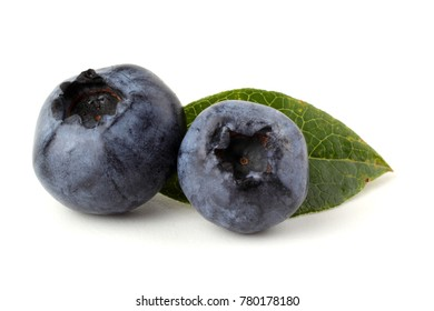 Blueberries and leaf