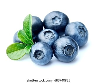 Blueberries with leaves closeup isolated on white backgrounds.
