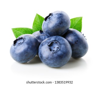 Blueberries with leaves isolated on white