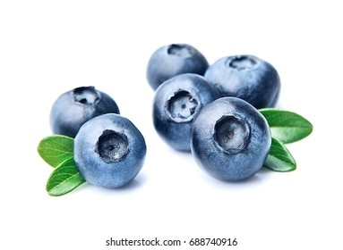 Blueberries with leaves isolated on white backgrounds.