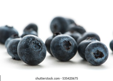 Blueberries on white background.