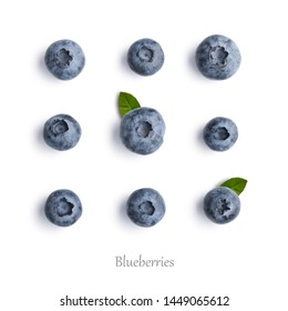 Blueberries on white background isolated,  top view, flat lay pattern.