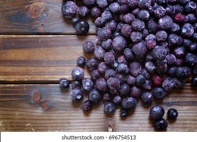 Blueberries on wood. Top down view.