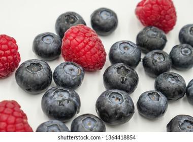Blueberries and raspberries closeup