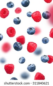 Blueberries and Raspberry, isolated on white background
