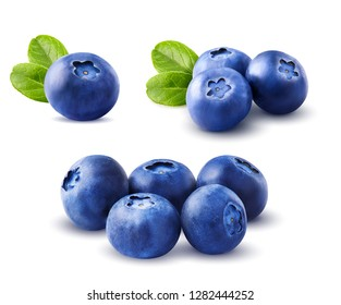 Blueberries set with leaves isolated on white background.