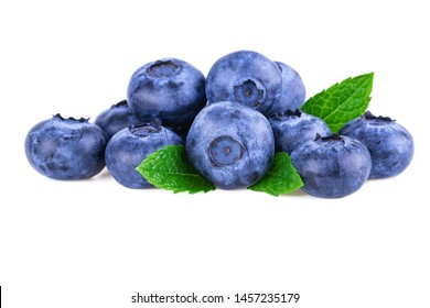 Blueberries. Stack of fresh blueberry with mint leaves isolated on white