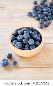 blueberries in wooden bowl.