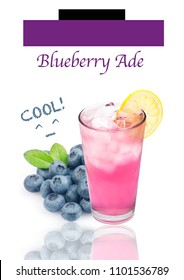 Blueberry ade in glass isolated on white background