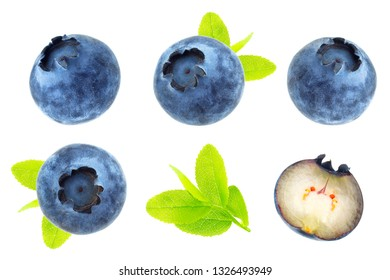 Blueberry berries isolated on white background. Collection