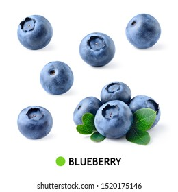Blueberry. Blueberries isolated. Blueberry on white. Blueberries with leaves. Bilberry.