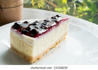 Blueberry cheese pie cake in dish on a table
