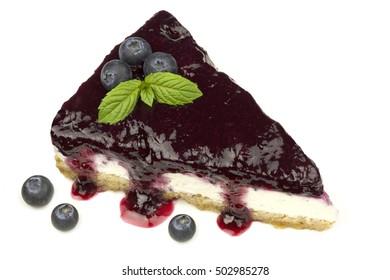 Blueberry cheesecake - ( Manhattan style ) isolated on white background