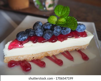 blueberry cheesecake on white plate.non bake dessert.