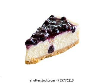 Blueberry Cheesecake Pie isolated on white background.