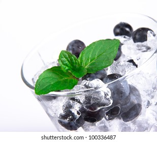 Blueberry cocktail with mint leaves