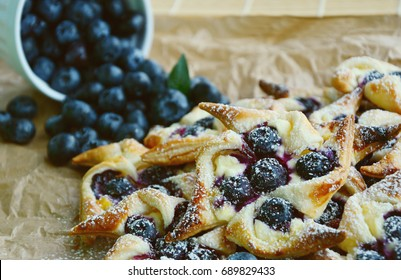 Blueberry Cream Cheese Pastries. Blueberry Puff Pastry Pies.