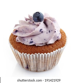 blueberry cupcake on a white background