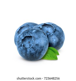 Blueberry. Fresh blueberries with leaves isolated on white background. With clipping path