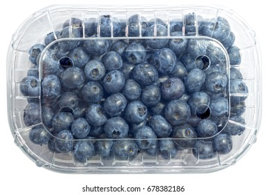 Blueberry fruits in the plastic container isolated on a white background with a clipping path. View from top.