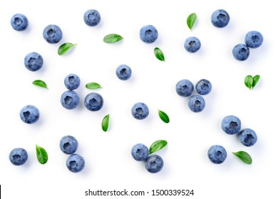 Blueberry isolated. Blueberries background. Blueberry on white background. With leaves.