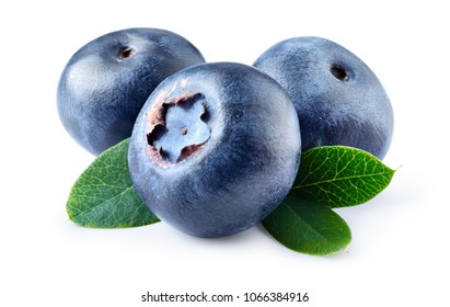Blueberry isolated. Blueberries with leaves on white background. With clipping path.
