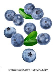 Blueberry isolated on white background. Blueberry half macro studio photo. Blueberry with leaves. With clipping path