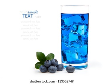 Blueberry juice / cocktail with ice, isolated on white background