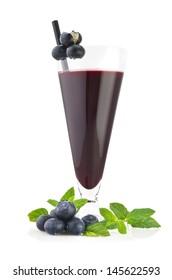 Blueberry juice with fruit sliced on white