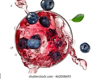 Blueberry juice splash, top view