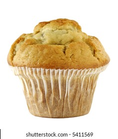 a blueberry muffin isolated against white background