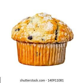 Blueberry Muffin Isolated on a White Background