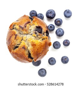 Blueberry muffin, isolated on white, top view.  With fresh fruit.