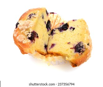Blueberry muffin on cutting white background