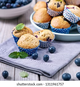 Blueberry muffins, healthy homemade dessert with berries, square image
