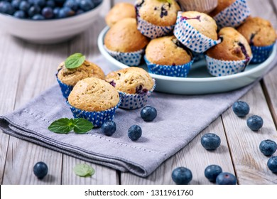 Blueberry muffins, healthy homemade dessert with berries