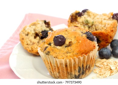 Blueberry and oat muffins, home baked, are full of flavor and nutritious without a lot of sugar