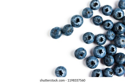 Blueberry on white background top view with copy space.