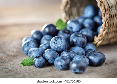 Blueberry on wooden table background