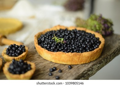 blueberry pie on the board