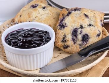 blueberry scones with jam