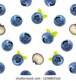Blueberry seamless pattern. For backgrounds, packaging, textile and various other designs