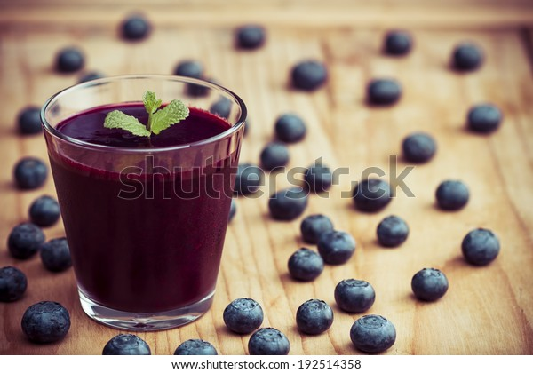 Blueberry smoothie on the table