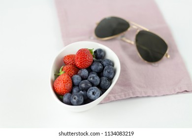 blueberry and strawberry on desktop