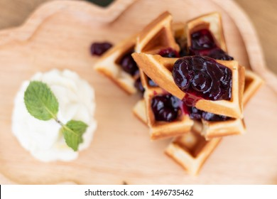 blueberry waffle and white cream top view